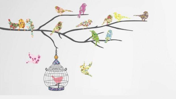 Muurstickers vogels en vlinders l Muurstickers voor kinderkamer