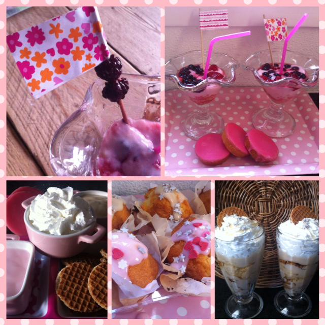 Feest aan tafel, roze koek vla stroopwafel vla, melkunie koekvla
