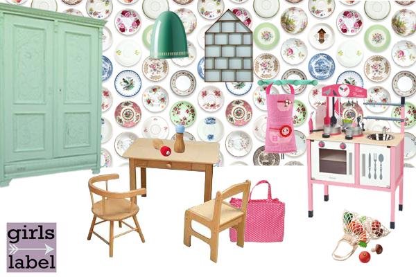 Keukenprinsessen kamer, kinderkamerinspiratie, studio ditte behang, meisjeskamers, tips voor meisjeskamers