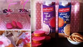 Melkunie roze koekvla, stroopwafelvla, feest met toetjes