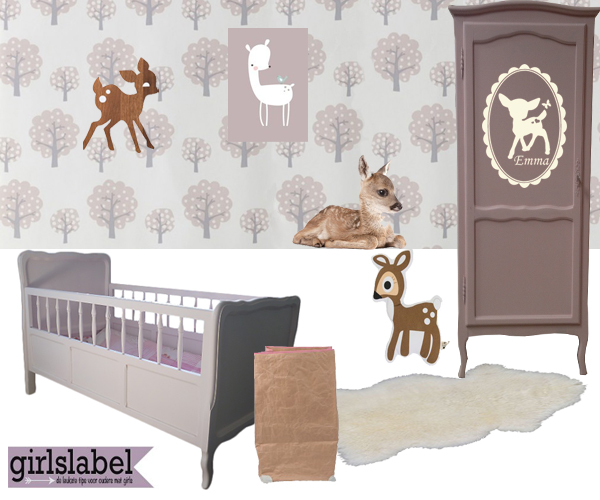Meisjeskamers, kinderkamers, meisjeskamer inspiratie, meisjeskamer voorbeelden, Babykamer Hertjes, bambi babykamer, hertjes, meisjeskamer met hert, kinderkamer met hertjes