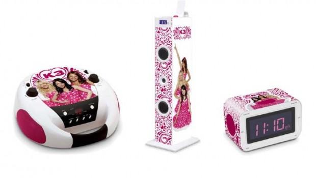 K3 speelgoed, K3 meezing toren, K3 sing along sound tower,K3 wekkerradio, K3 wekker, K3 radio, K3 cd speler