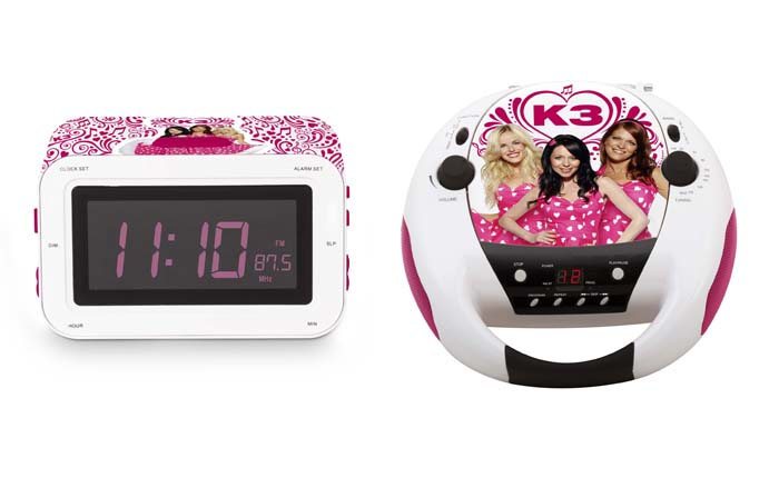 K3 wekkerradio, K3 wekker, K3 radio, K3 cd speler, K3 speelgoed