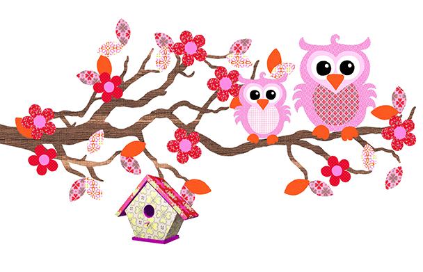 studio-poppy-behangboom-uiltjes, behangboom, babykamer behang