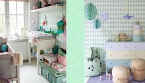 ... behang voorbeelden, kinderkamer styling, kinderkamer mint groen