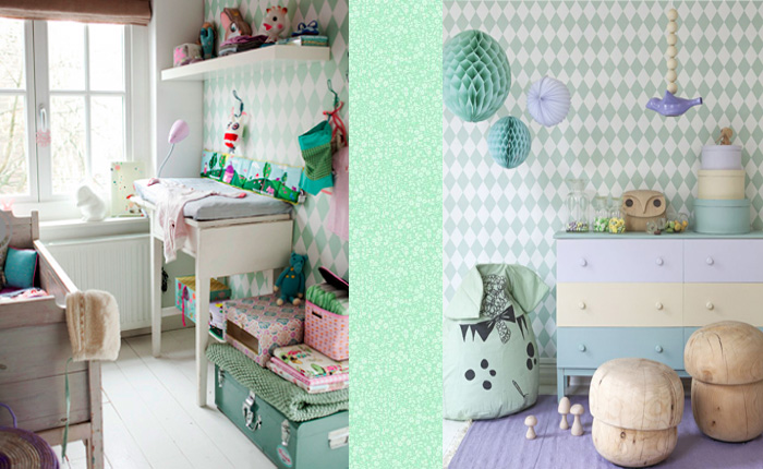 Behang Babykamer Wit : Minty Mix - Girlslabel