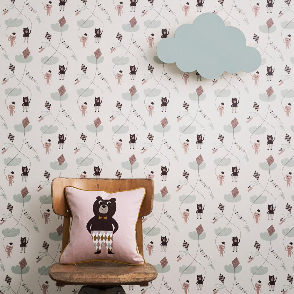 Ferm Living behang, Ferm living wandlamp wolkje, wolk lamp, wolk wandlamp, verlichting kinderkamer