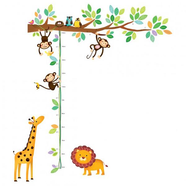 muurstickers aapjes, decowall muurstickers, muursticker-boom-aapjes