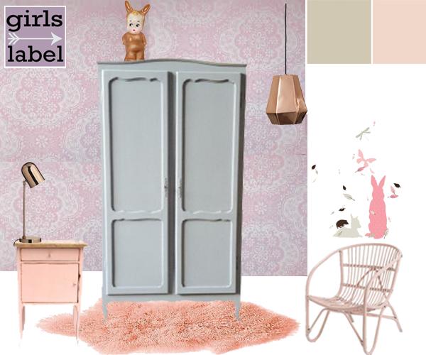 Roze meisjeskamer met koper, voorbeeld roze meisjeskamer, meisjeskamer ideeen, kinderkamer styling