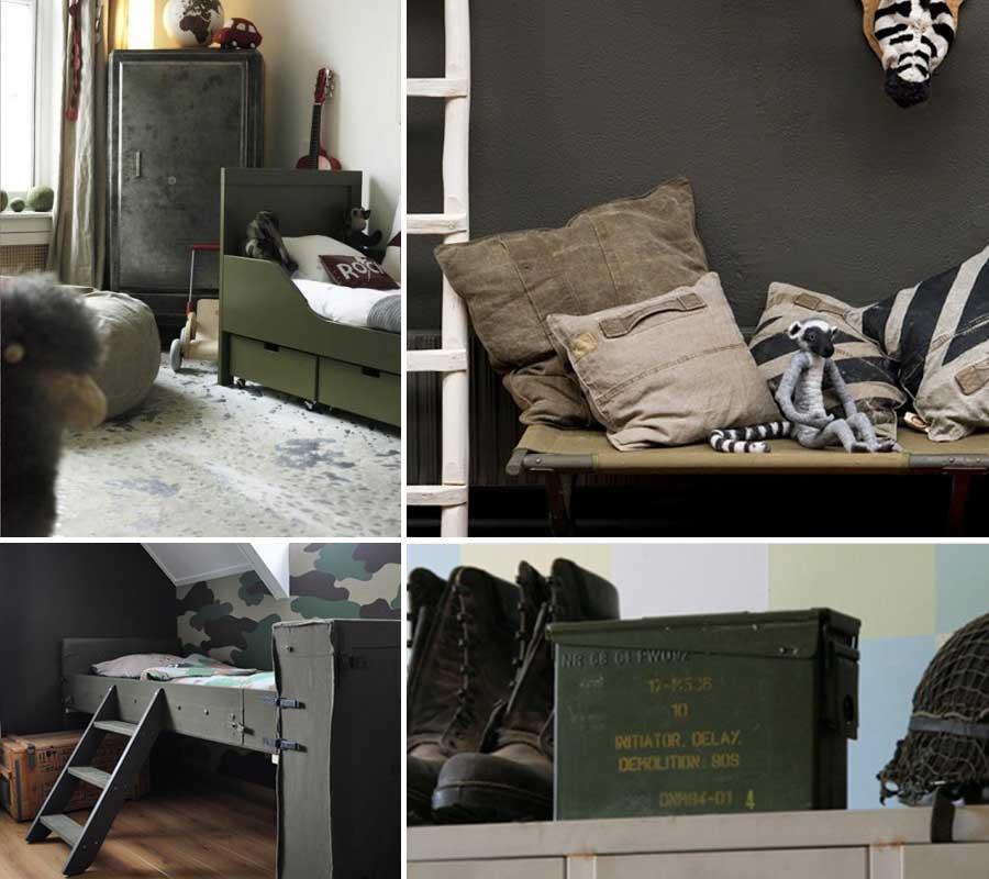Stoere legerkamer stoere jongenskamers - Jongen kamer decoratie idee ...
