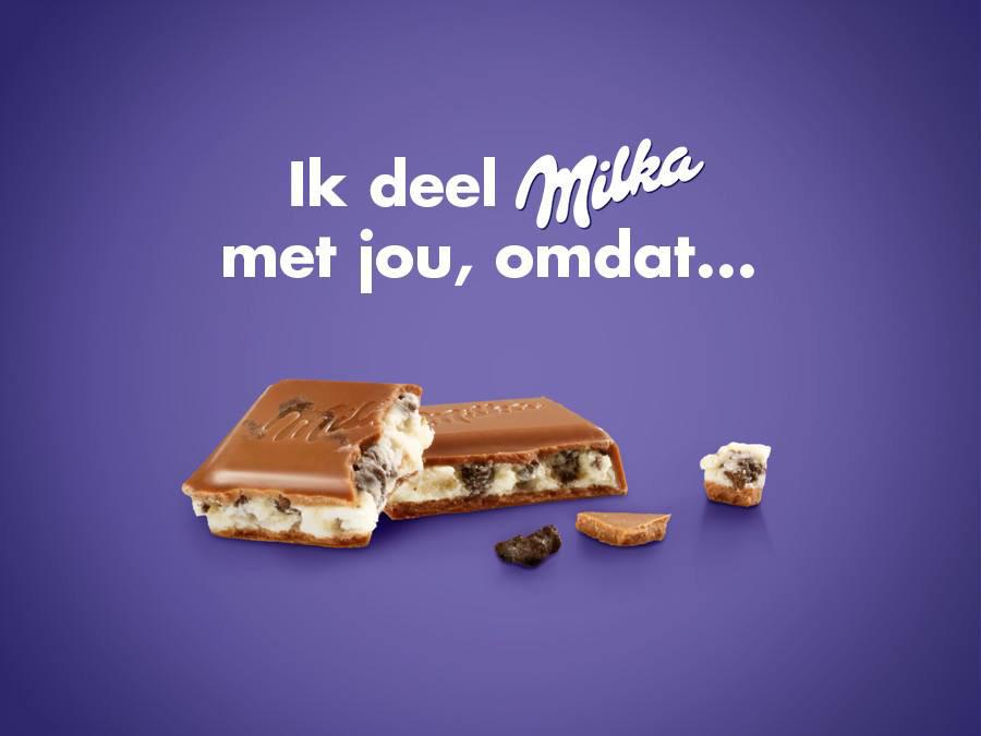 Milka chocolade, het laatste stukje Milka is voor