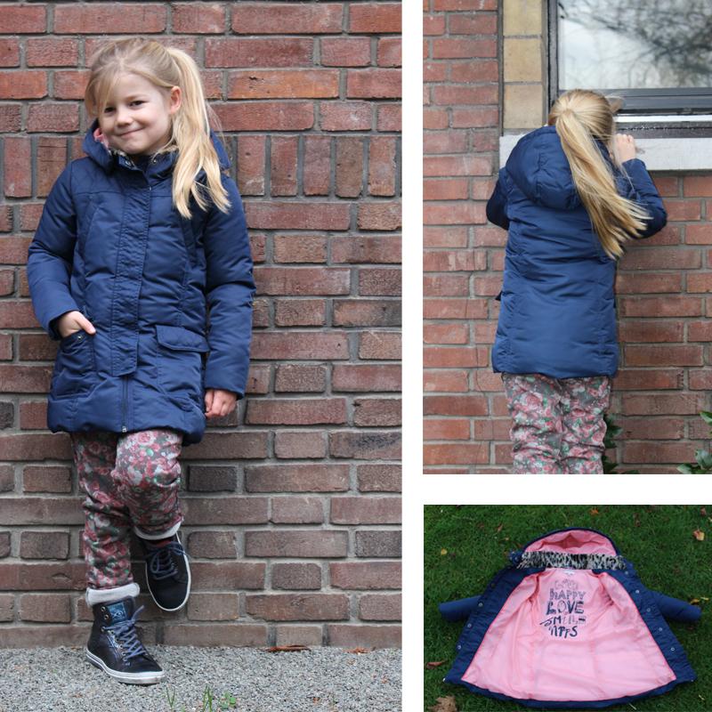 noppies, winterjas, lyn, girlslabel, noppies winterjas, meisjes winterjas, winterjassen voor meisjes, donkerblauwe winterjas meisje