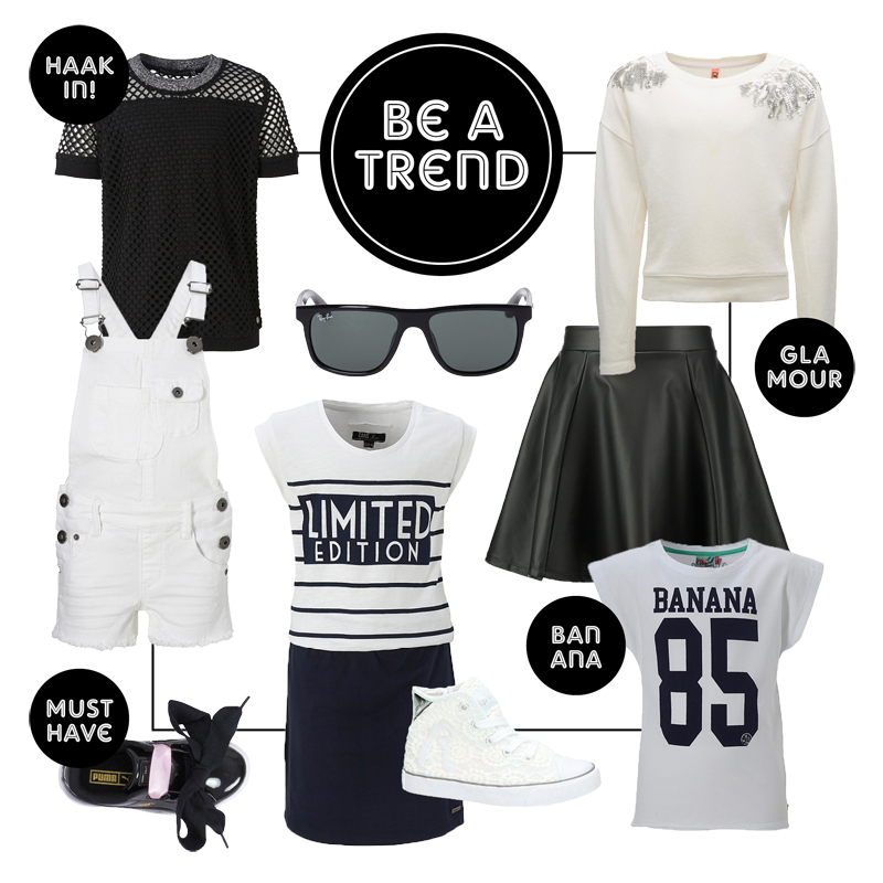 zwart wit meisjeskleding, kinderkleding