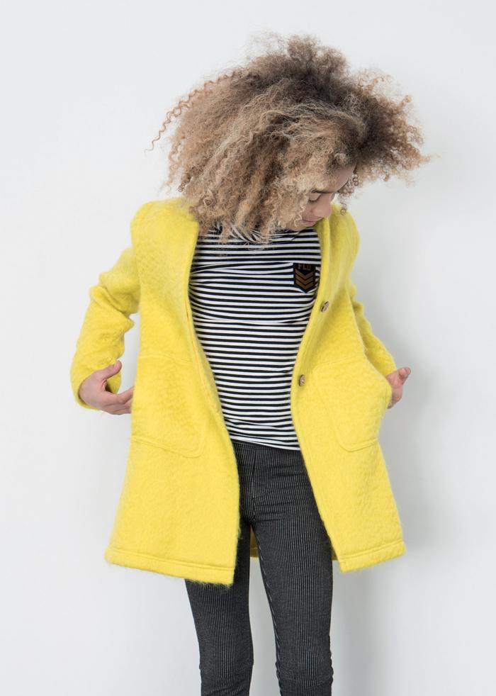 LikeFlo, dress like flo, like flo meisjeskleding, hippe meidenkleding, gele winterjas meisjes