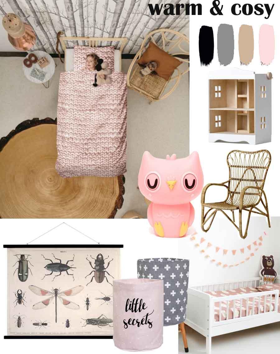 meisjeskamer, meisjeskamer natuur, thema meisjeskamer, meisjeskamer accessoires, meisjeskamer moodboard, meisjeskamer styling