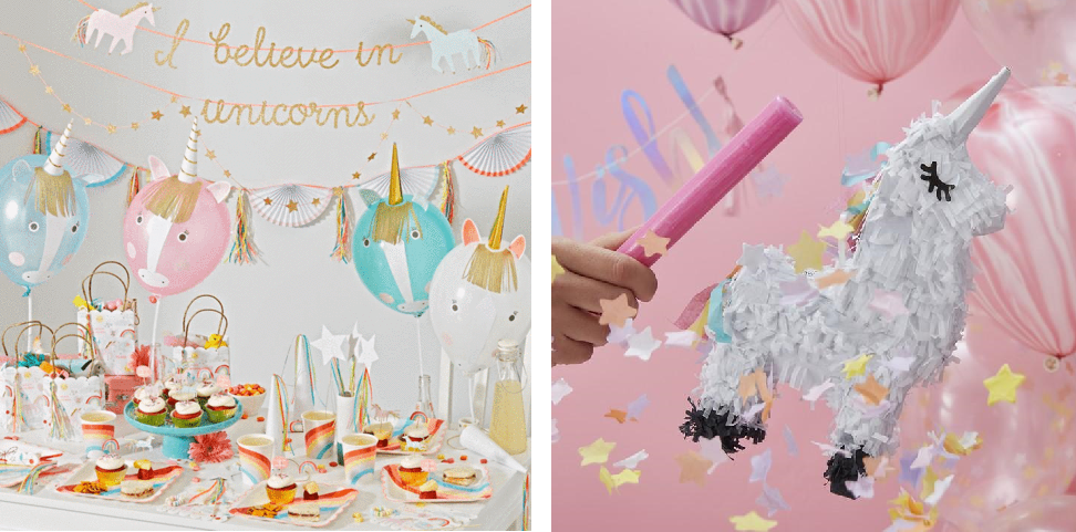 kinderfeest thema's, unicorn feestje, regenboog versiering
