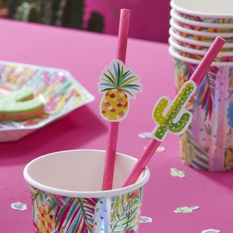 de gele flamingo, party servies, feest tropical, verjaardag tropical