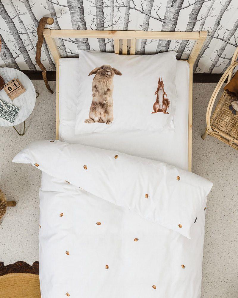 Kinderdekbedovertrek-Furry-friends, meisjes beddengoed, snurk beddengoed, meisjes dekbedovertrek