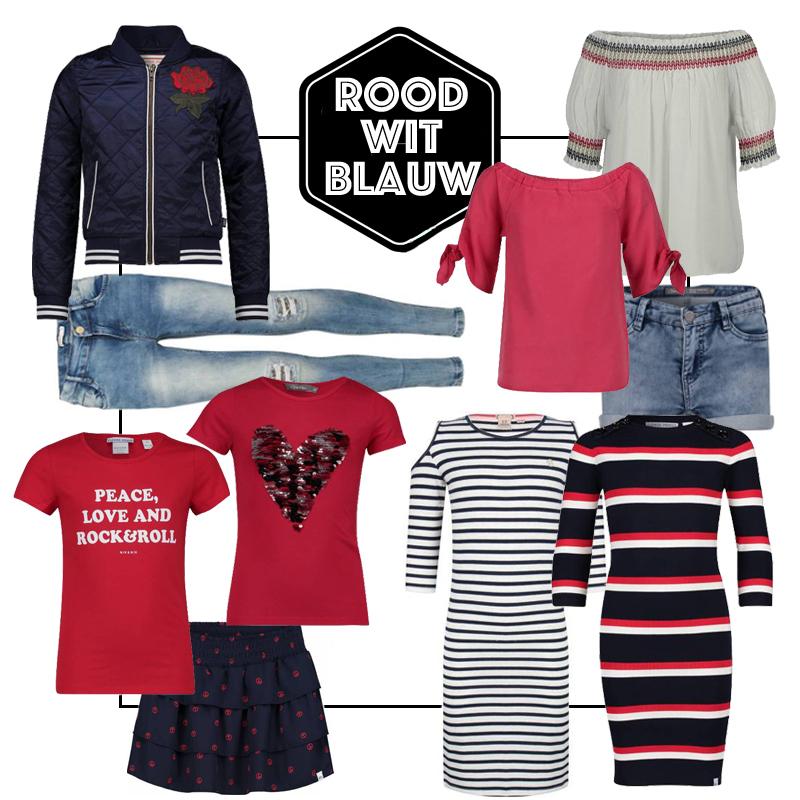 rood wit blauw meisjeskleding, hippe meisjeskleding, tienerkleding