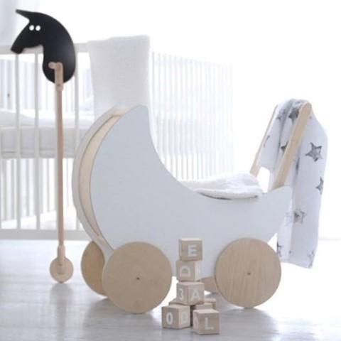 lifestyle for kids, jut en jul. poppenwagen, houten poppenwagen