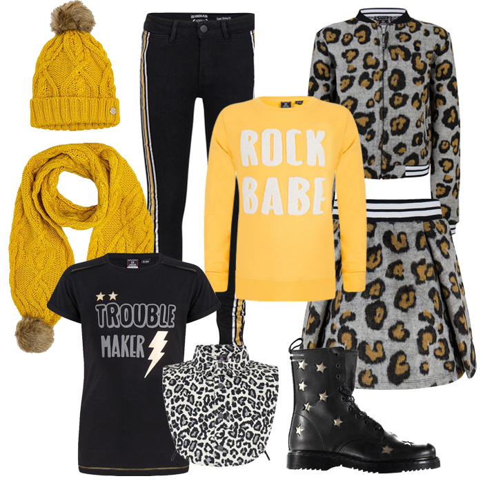 luipaardprint, hippe meisjeskleding, indian blue jeans winter 2018, leopard print, girlslabel, shop the look