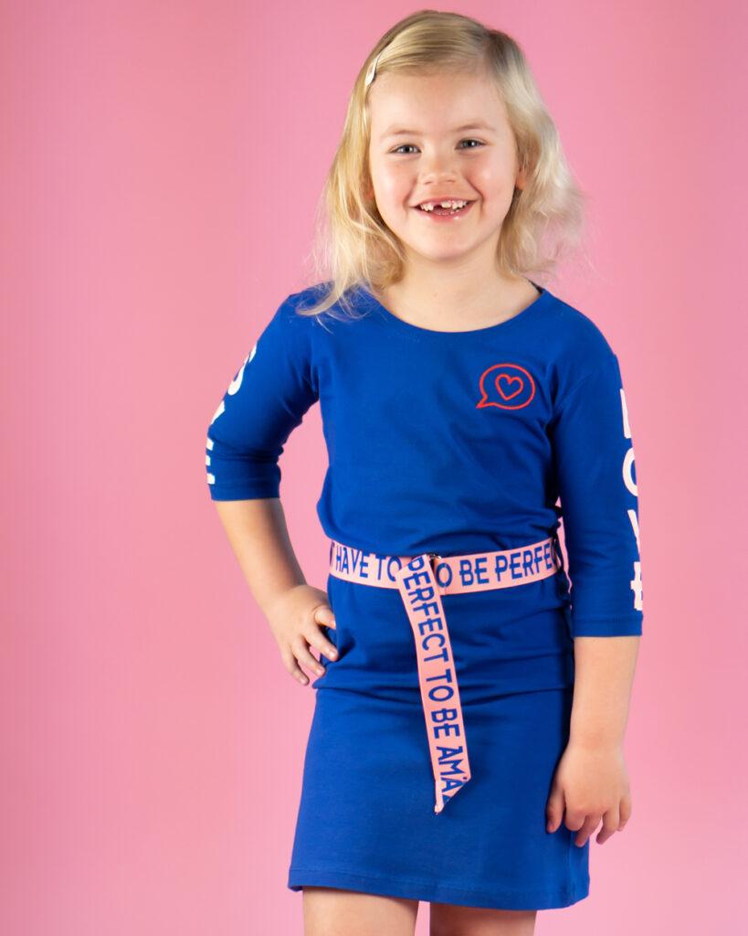 ochill, ochil kleding, ochill 2020, nieuwe collectie ochill kinderkleding, ochill jurkje, blauw jurkje meisje