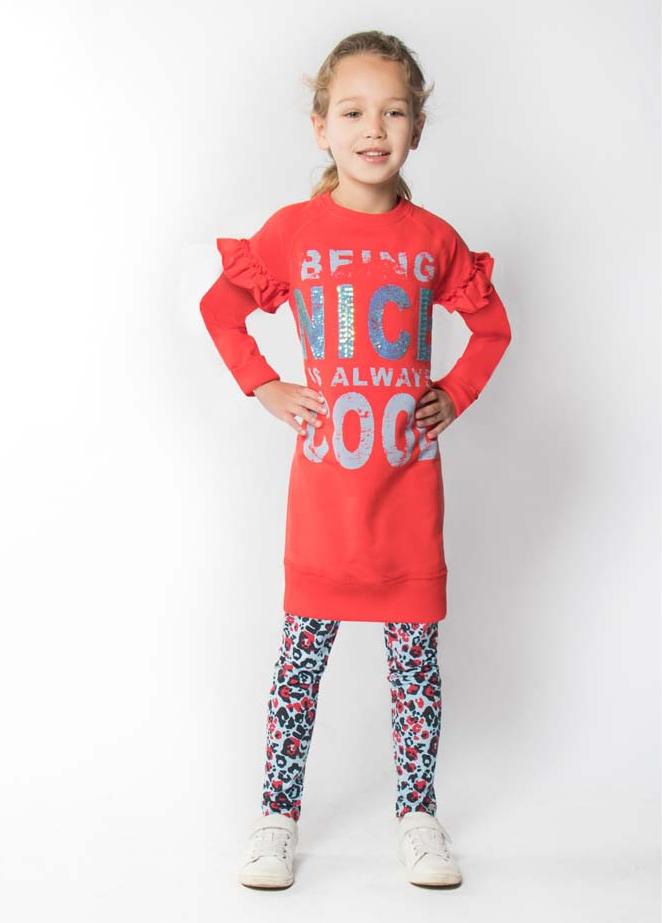 rode sweatdress, rode meisjes jurk