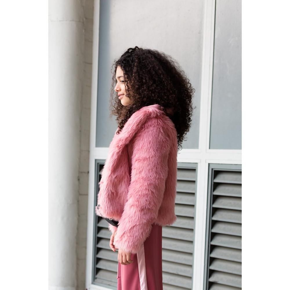 LEVV winterjas, winterjas meisjes, roze bontjas, meisjes bontjas, fake fur winterjas