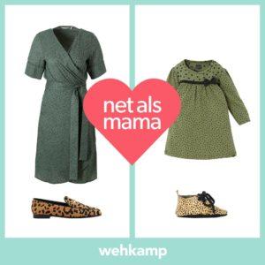 wehkamp, linda.festival, moeder dochter, groene jas, groene jurk, panterprint, kekke schoenen