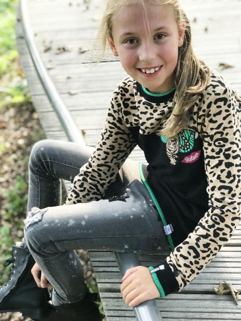 tijgerprint sweater, luipaardprint, stoere meisjeskleding