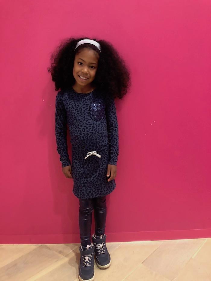LEVV luipaardprint, levv girls, levv luipaard jurk, levv wintercollectie, style labels, pailletten jurk, blauwe luipaardprint