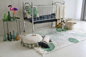 botanische slaapkamer, botanische meisjeskamer, botanisch vloerkleed, Lorena_Canals_Kindervoerkleed_Tropisch_Groen_Sfeer