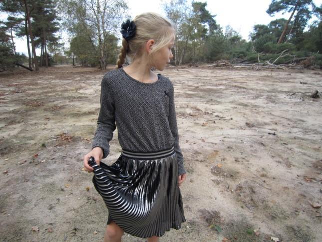 le chic jurk, le chic feestjurk, plisse rok jurk, glanzende rok, le chic