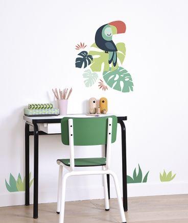 botanische slaapkamer, botanische meisjeskamer, botanische print, lilipinso_muursticker_toekan_s1224_sfeer