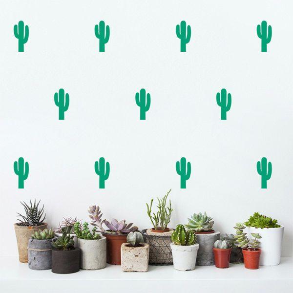 botanische slaapkamer, cactus muursticker, cactus meisjekamer, botanische meisjeskamer, pom_le_bonhomme_muurstickers_cactus_groen