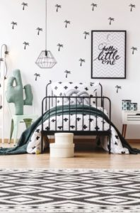 botanische slaapkamer, botanische meisjeskamer, om_le_bonhomme_muurstickers_palmbomen_zwart_sfeer_1