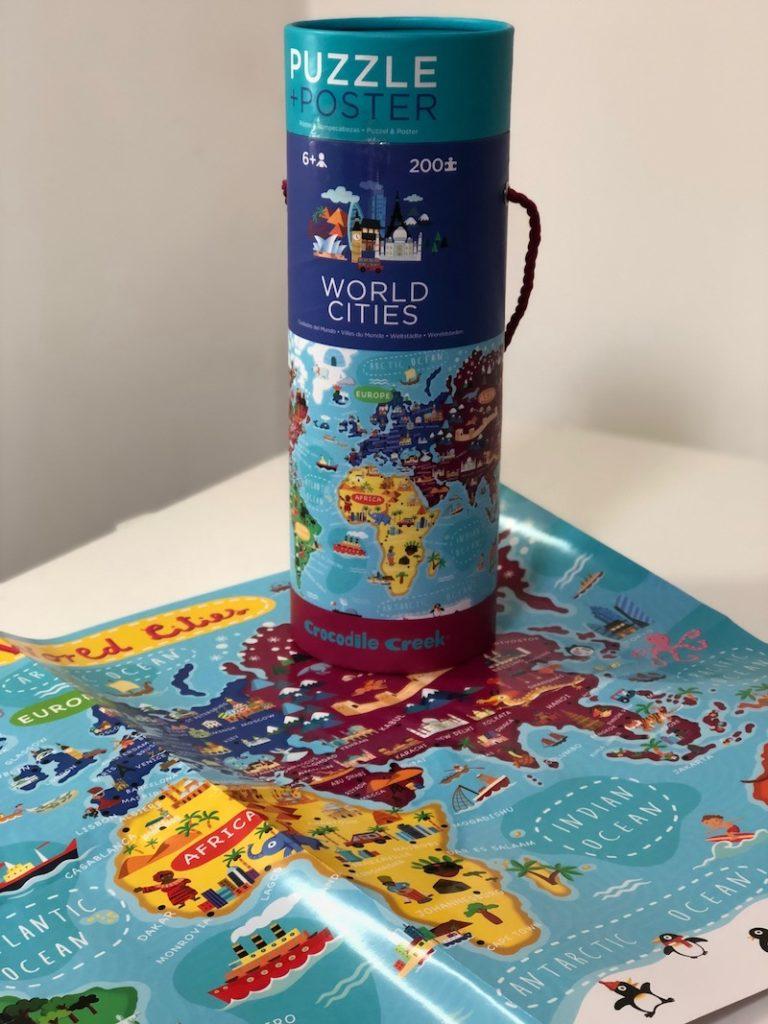 crocodile creek, bertoy, puzzel, world cities, wereldkaart puzzel, cadeau meisje 6 jaar, cadeautips, kinderspeelgoed