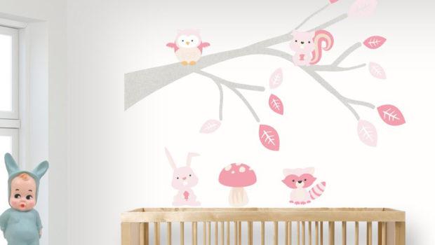 meisjeskamer muurstickers, woodland, woodland muursticker, alles voor meisjes, ecodeco-muursticker-tak-baby-woodland-roze kopie