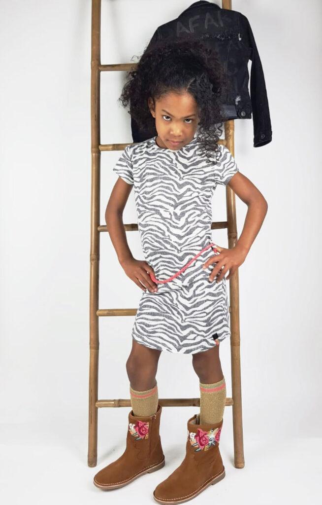 jurk met dierenprint, quapi voorjaar, quapi girls, quapi nieuwe collectie, quapi 1e levering, quapi zebraprint, zebraprint jurk