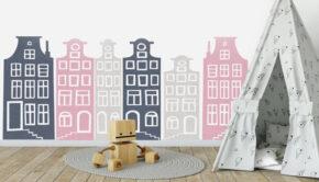 muursticker meisjeskamer, grachtenhuisjes muurstickers, grachtenhuis muursticker