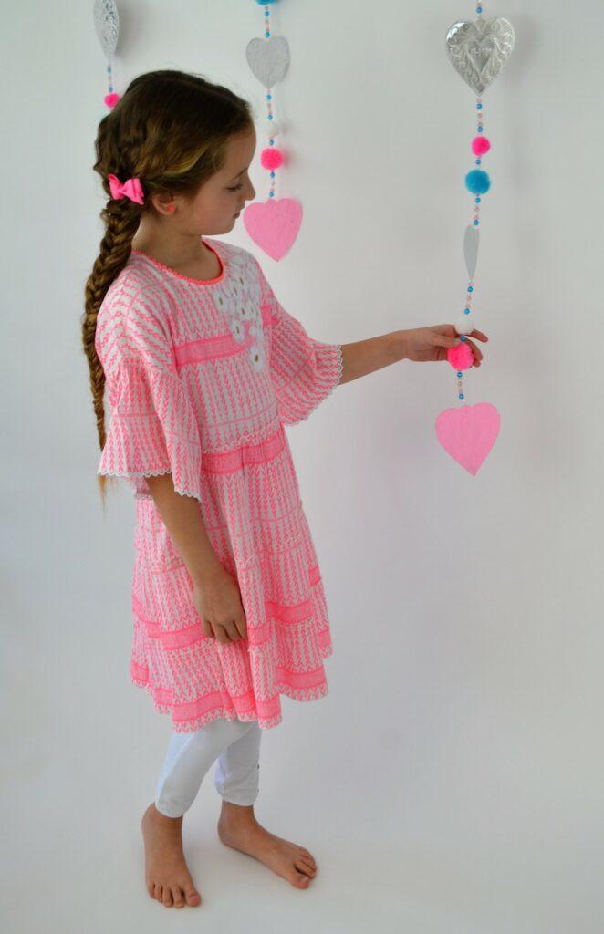boho jurk meisje , roze boho jurk, zomerjurk