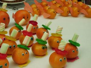 mandarijn met snoep