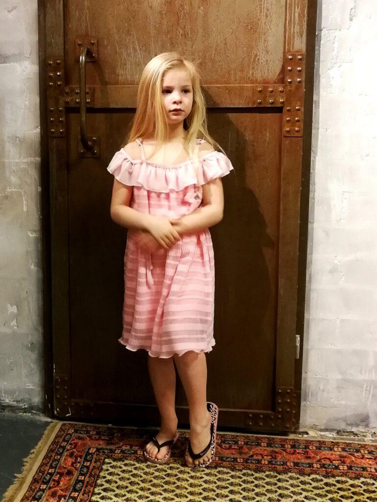 roze jurk, meisjesjurk, communiejurk