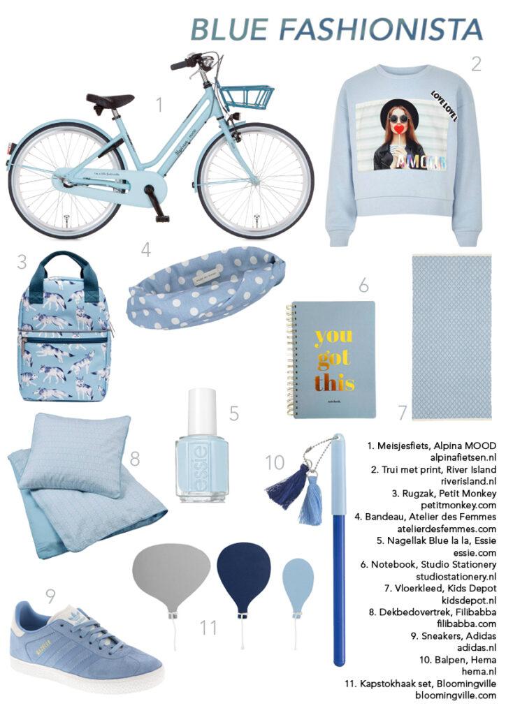 Moodboard blauw, blauw voor meisjes, trendkleur blauw, trendy blauw
