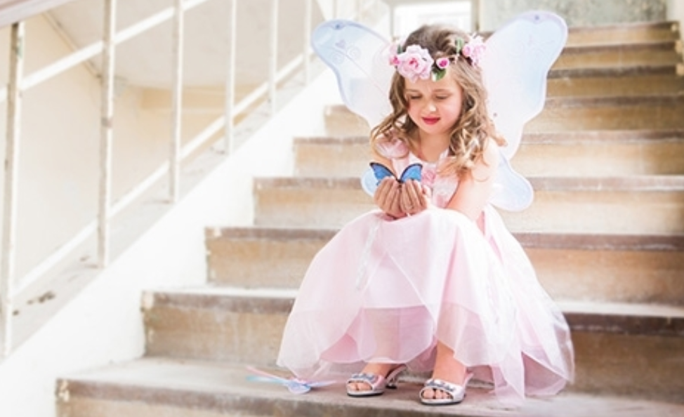 accessoires verkleedjurk, accessoires prinsessenjurk, vleugel elfje, vleugels verkleedjurk, bloemenkrans meisje, bloemenkrans, prinses, meisje-meisje