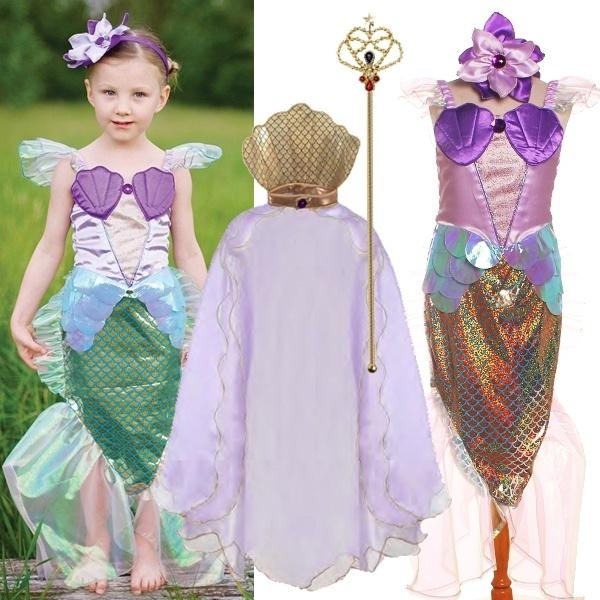 voordeelpakket prinsessenjurk, zeemeermin jurk, verkleedjurk meisje