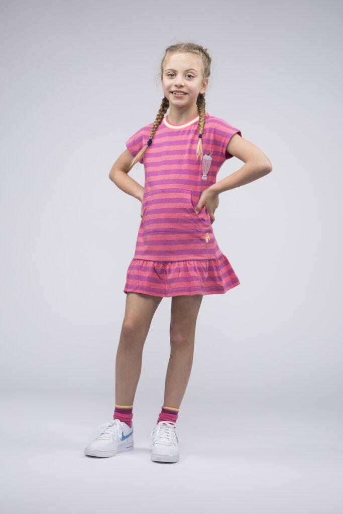 roze jurk, roze zomerjurk, gestreept jurkje, the harbour kids