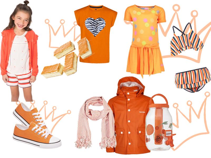 Koningsdag inspiratie, koningsdag shoppen, oranje kleding, oranje schoenen, oranje kinderkleding, oranje jas, oranje jurk, oranje tompouce