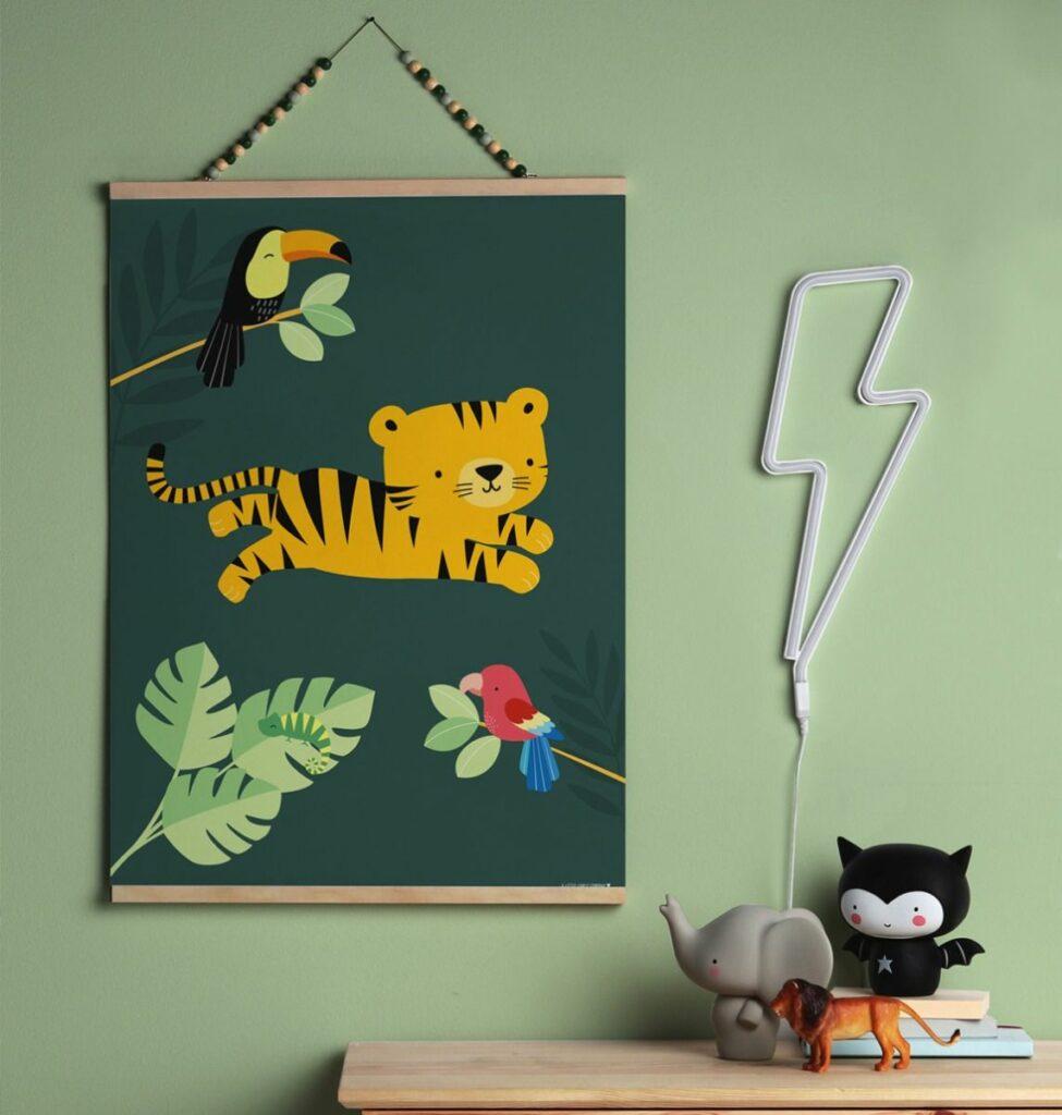 jungle kinderkamer, tropical kinderkamer, tropical themakamer, poster tijger, poster kinderkamer