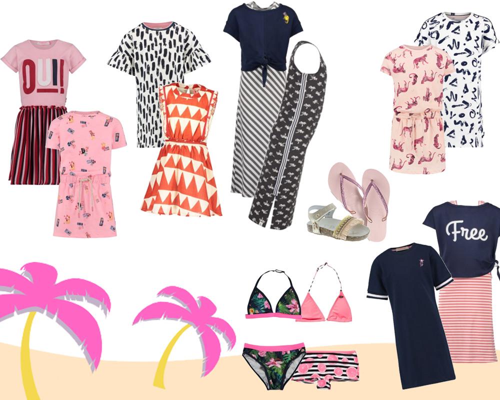 Kleertjes zomer sale, kleertjes zomercollectie, strandjurk, slippers meisje, zomerjurk